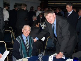Ron Henry, pictured with the webmaster in March 2004, when he, the Double team, and Bill Nicholson were the first entrants to the Spurs Hall of Fame